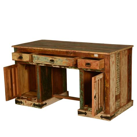 Gothic Rustic Double Pedestal Reclaimed Wood Office Desk Wooden Office Desk