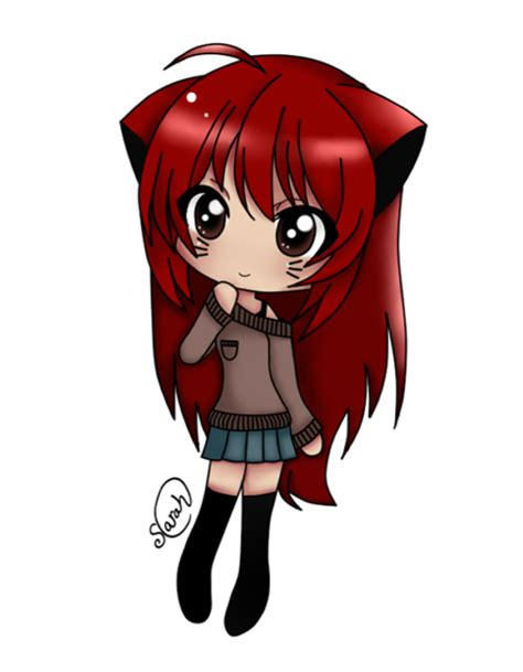 cute anime chibi girl with red hair sarah 1 by sweet reject on deviantart