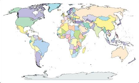 world map with countries no names world map