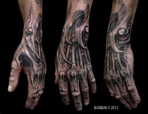 tatouage main biom 233 canique tattoo hand biomechanical