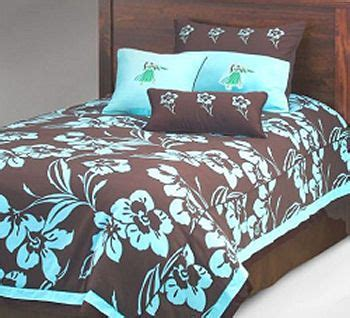 Navy Blue Bedding For Girls Blue And Chocolate Brown Hawaiian Print Bedding Sets