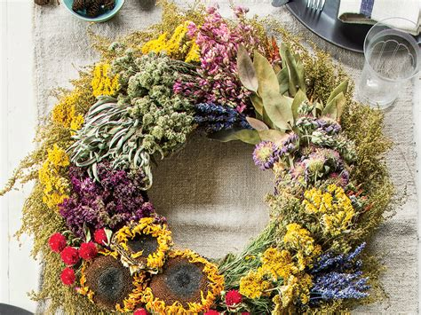 Fall Wreath With Dried Flowers And Herbs Southern Living From The Garden Dried Flowers