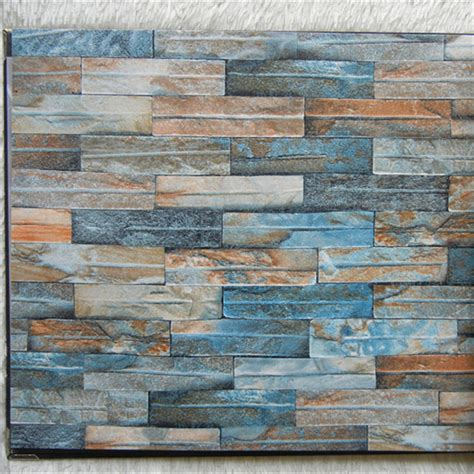 Wall 3d Brick Br1317 Blue 3d brick wallpaper colorful marble wall paper blue