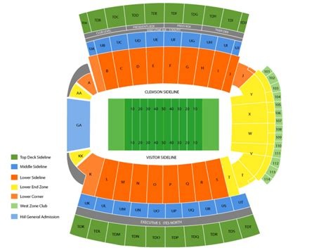 clemson seating chart valley clemson memorial stadium seating chart and tickets