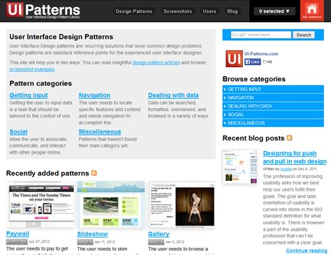 design pattern for ui 10 great sites for ui design patterns interaction design