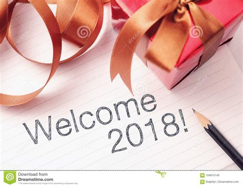 new year decoration meaning welcome year 2018 with decoration stock image image