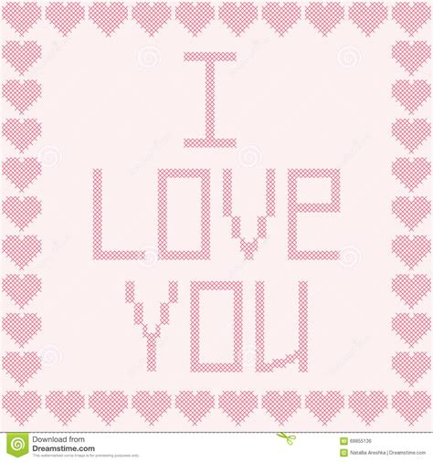 love shape pattern vector cross stitch i love you stock vector image of element