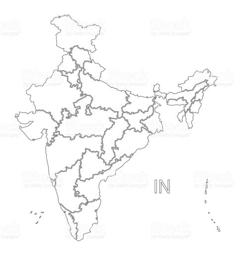 India Political Map Outline With States by India Outline Silhouette Map Illustration With States Stock Vector More Images Of Black