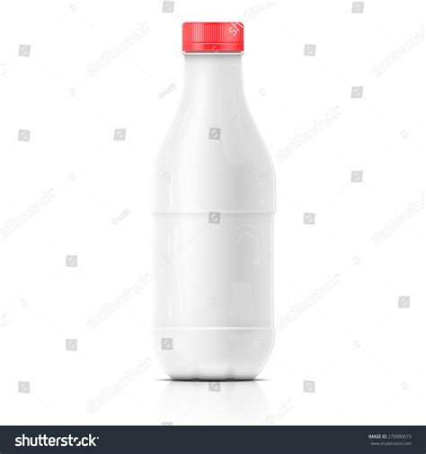 Template Of Plastic Blank Milk Bottle With Red Cap On White Background Packaging Collection Milk Bottle Label Template