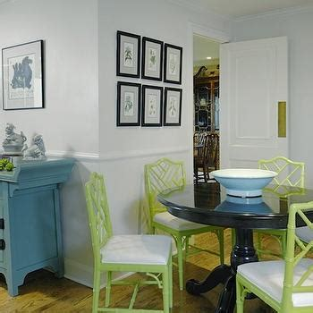 dining space featuring eclectic teal green dining chairs faux bamboo chairs contemporary dining room graciela
