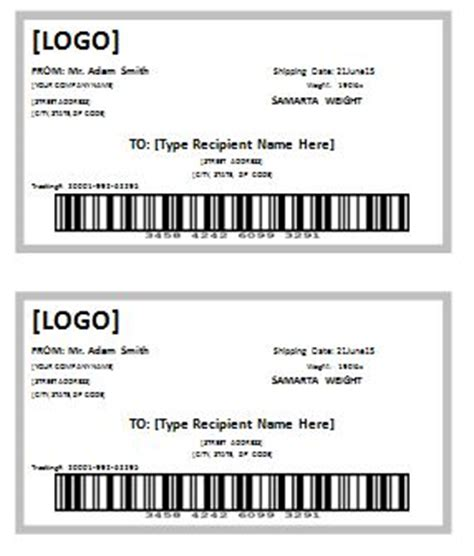 Free Shipping Label Template Formal Word Templates Package Label Template