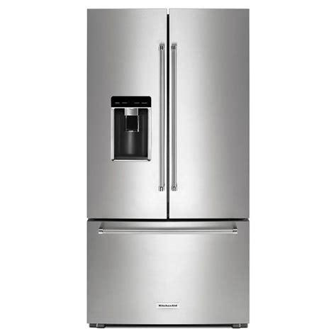 kitchenaid cabinet depth refrigerator shop kitchenaid 23 8 cu ft 3 door counter depth french