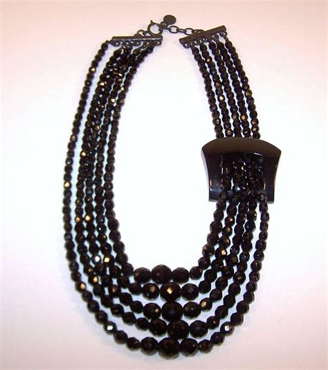 multi strand black bead necklace c 1990 giorgio armani jet black bead multi strand necklace