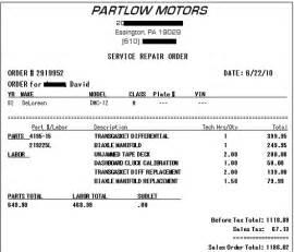 pics photos fake car repair receipt