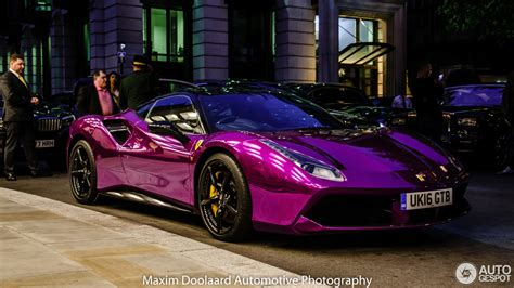 dark purple ferrari chrome purple ferrari 488 gtb screams out its performance