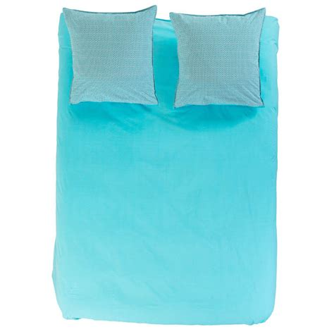 Housse Couette Turquoise by Housse De Couette Curacao Turquoise Carre Blanc