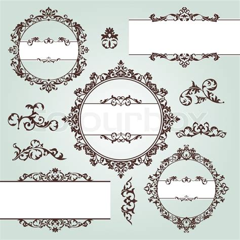 vintage floral elements for design vector stock vector set of vector floral vintage design elements stock vector