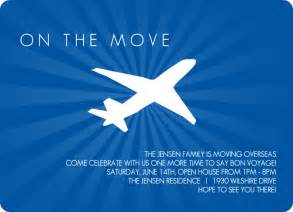 farewell invitations seaside blue flying plane going away invitation