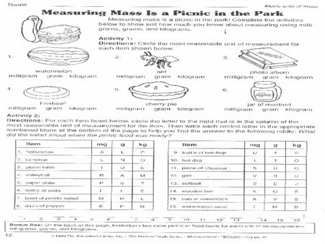 Measuring Mass Worksheet by Worksheets Measuring Mass Worksheet Opossumsoft