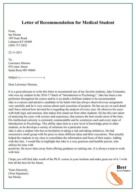 sample letter recommendation medical