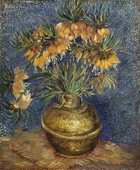 Vincent Gogh Vase by Crown Imperial Fritillaries In A Copper Vase Painting By