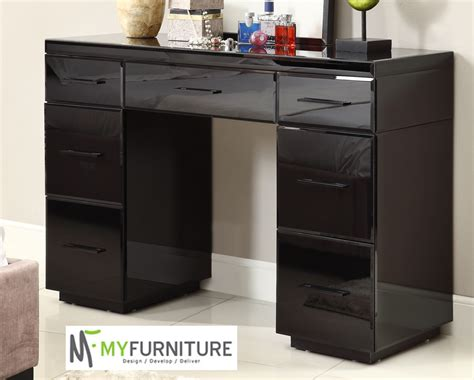 Black Mirrored Furniture by Mirrored Black Glass Dressing Table Console 7 Drawer