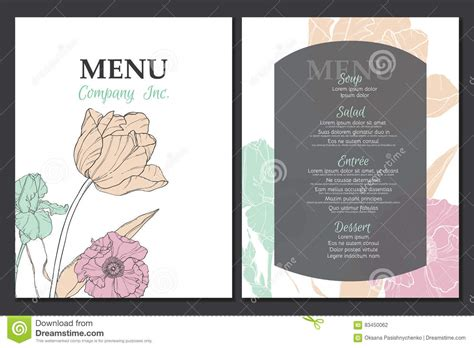 vintage menu design elements vector vector menu template design with vintage floral elements