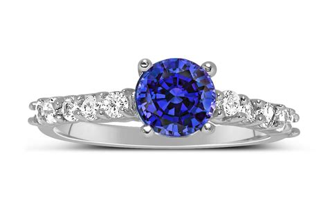 1 carat vintage cut blue sapphire and
