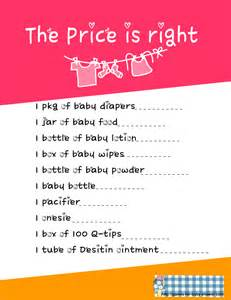 Free printable price is right game for baby shower in pink color