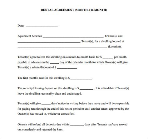 free download blank lease agreement exle for month to