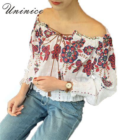 Korean Embroidery Blouse shoulder blouse shirt s clothing white slash