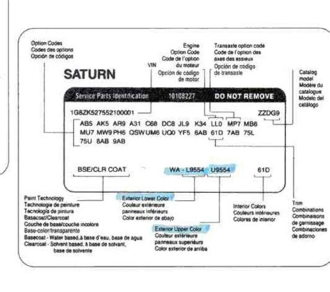 saturn paint codes