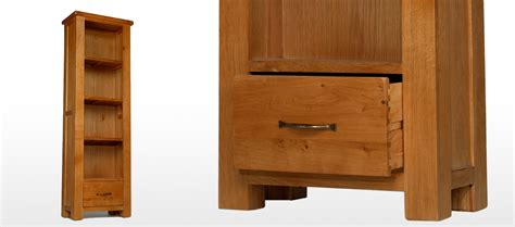 Slim Bookcase With Drawers Barham Oak Slim Bookcase With Drawer Quercus Living