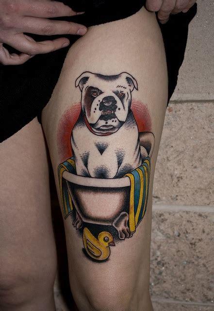 tattoo and hot tub bulldog in bath tub tattoo myke chambers by myke chambers