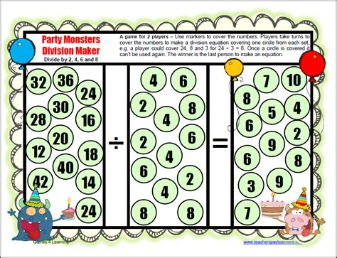 Printable Long Division Games | available now at