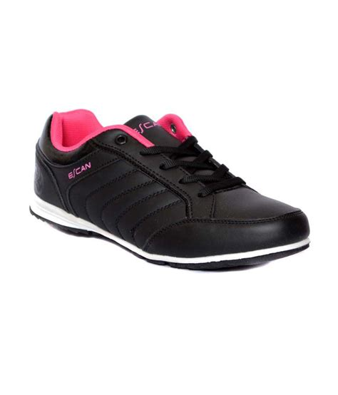 buy womens sports shoes escan black synthetic leather running womens sports shoes