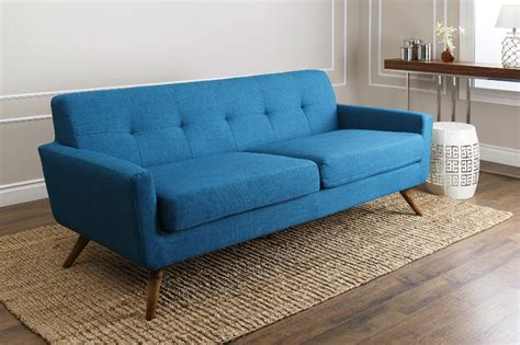 abbyson living bradley petrol blue fabric sofa
