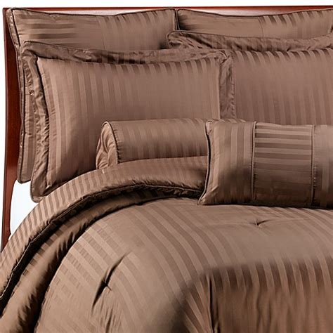 damask stripe comforter set wamsutta 174 damask stripe comforter set in chocolate bed