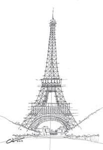 la tour eiffel sketch drawing by calvin durham