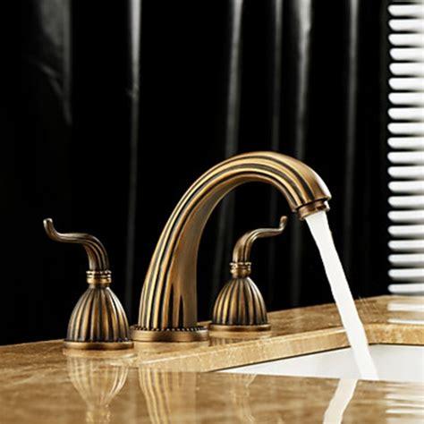 antique brass bathroom faucets widespread antique brass finish widespread bathroom sink faucet faucetsuperdeal com