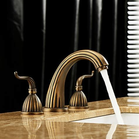 Antique brass finish widespread bathroom sink faucet faucetsuperdeal com