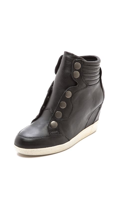 high top wedge sneakers lyst ash blade high top wedge sneakers black in black
