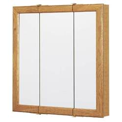 surface mounted medicine cabinet shop style selections 24 25 in x 24 in oak particleboard