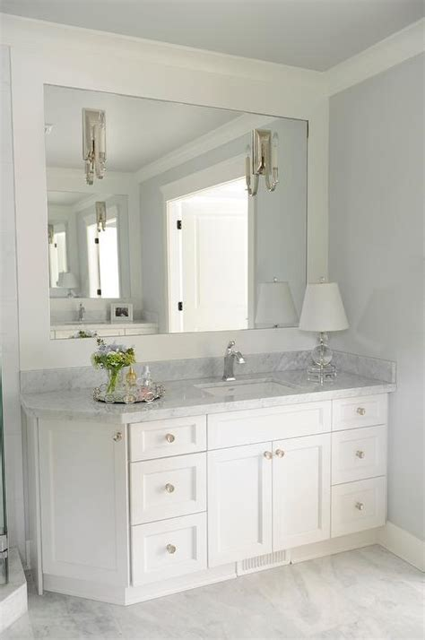 White Vanity Mirror For Bathroom by Bathroom Vanity With Angled Cabinet Transitional Bathroom