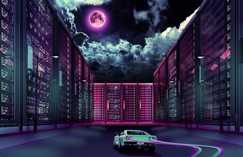 vaporwave aesthetic car wallpaper running