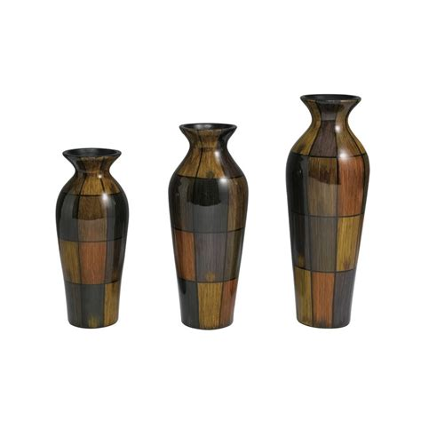 set of three decorative vases