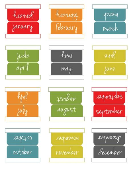 Printable Calendar Tabs | free calendar index tab bookmark calendar template 2016