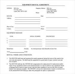 rental contracts templates free sle equipment rental agreement template 8 free