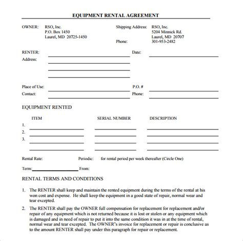 Equipment Lease Agreement Template sle equipment rental agreement template 9 free