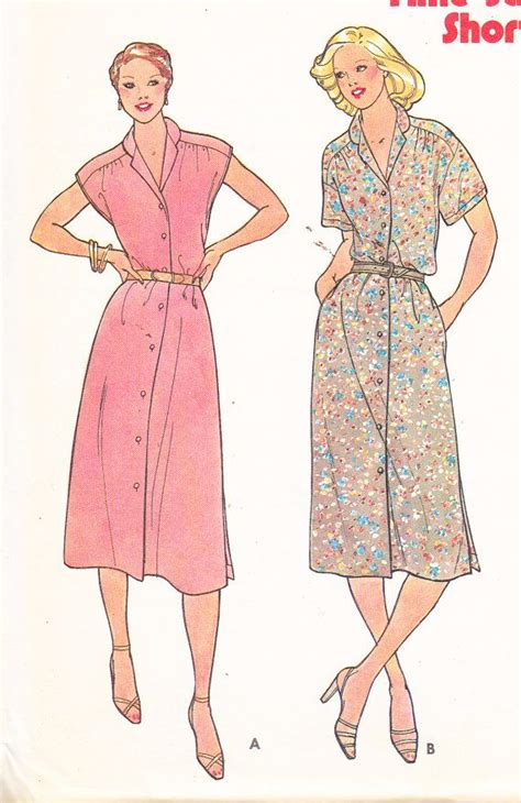 sewing pattern button up dress 80 s button down dress womens vintage sewing pattern